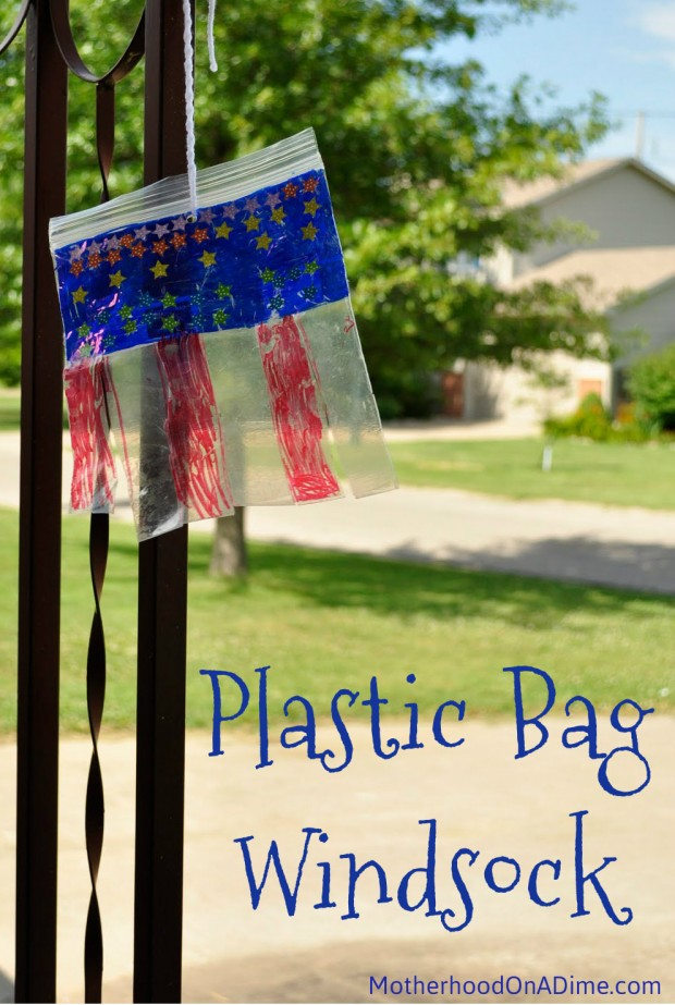 4th of july craft, plastic bag windsock