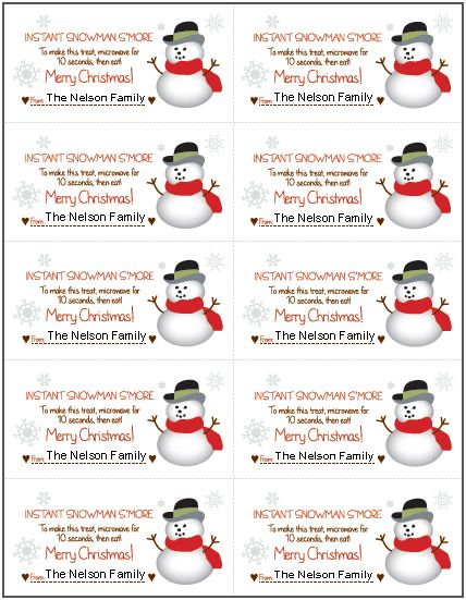 FREE Printable Snowman S'More Gift Tag - Kids Activities ...