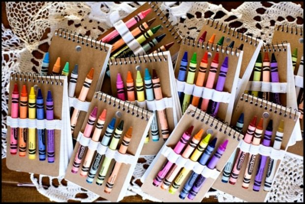 crayon and notebooks