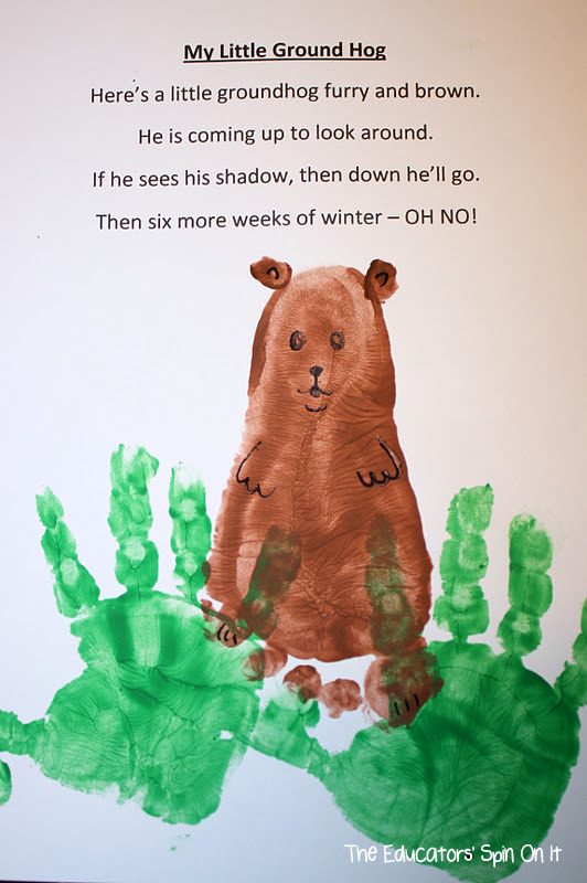 groundhog handprint craft