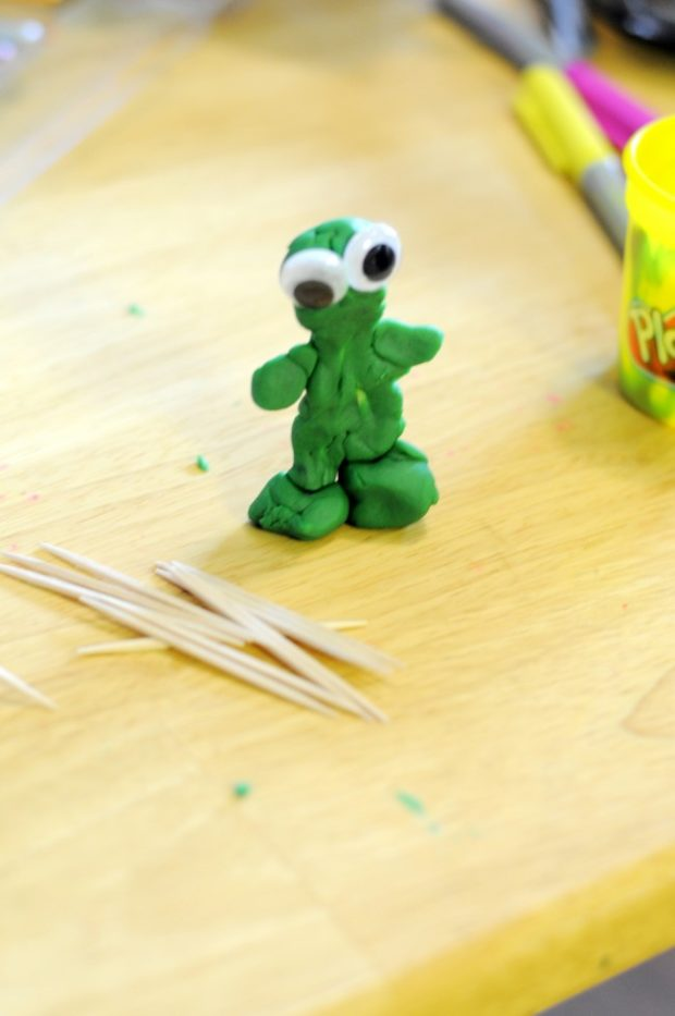 toothpick (bones) playdough man