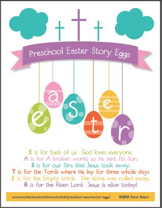 preschool easter story eggs