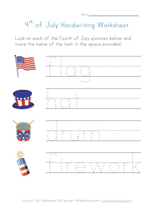 fourth-of-july-worksheet-handwriting
