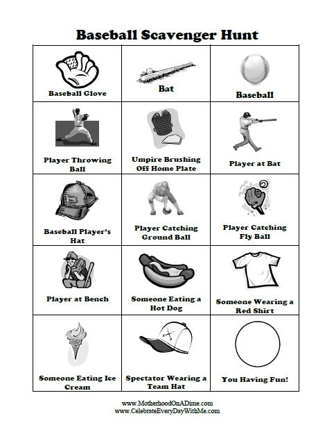 Baseball Scavenger Hunt Free Printable