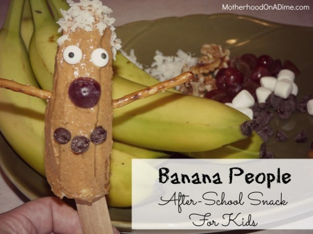 Banana People:  This whimsical and delicious snack idea for kids will get their creative juices flowing.  What a creative recipe for those who like to cook with their kids!