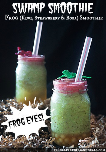 Healthy Halloween Treats:  This swamp smoothie is a great idea...and the frog eyes?  Kids would love it!