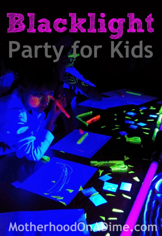 glowing play blacklight party and experiment for kids kids activities saving money home. Black Bedroom Furniture Sets. Home Design Ideas
