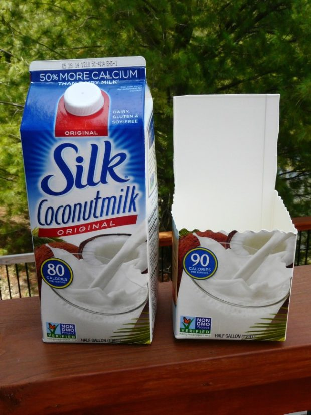 cut your cardboard milk container