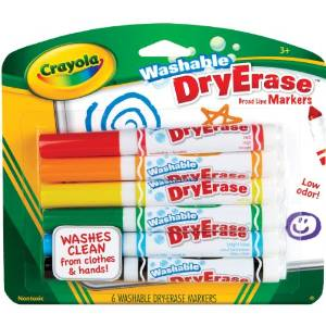 Washable dy erase markers