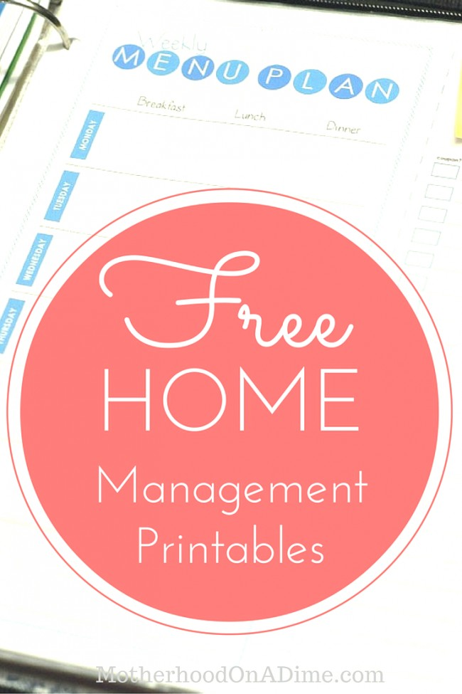 Awesome set of free home management binder printables. Includes a weekly calendar, menu planning page, daily schedule page, goal setting page, 2016 calendar, and more!