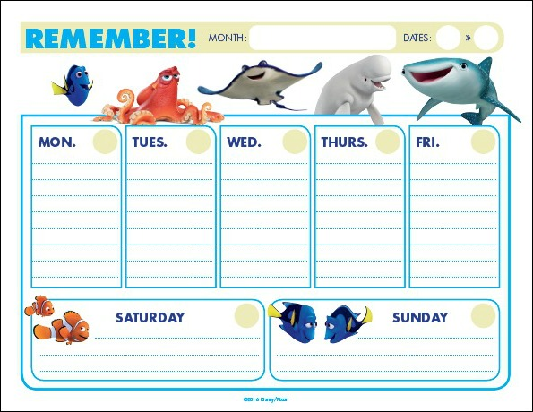 Finding Dory Weekly Remember Calendar