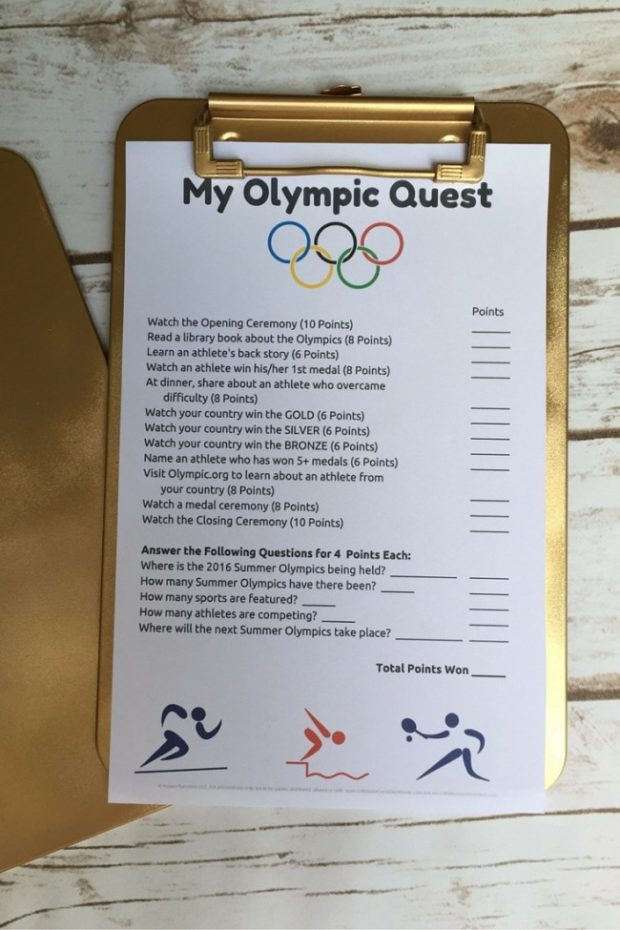 a fun family quest to get your kids to watch & learn about the summer olympics