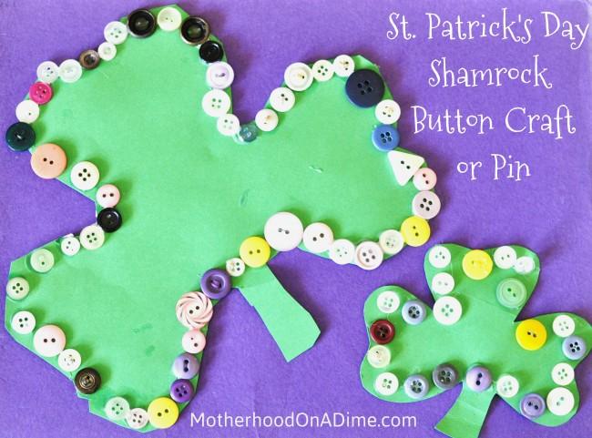St. Patrick's Day Button Shamrock