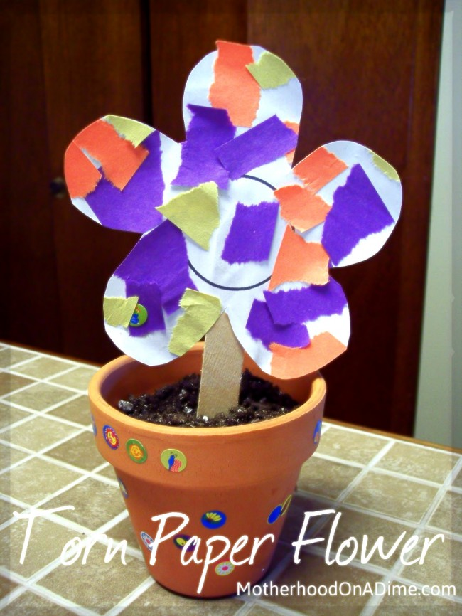 torn paper flowers kids activities saving money home