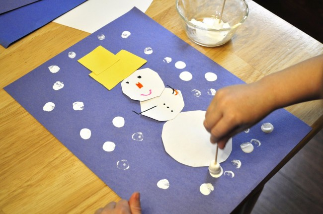 Snowy Snowman Painting (With a Marshmallow Paintbrush)