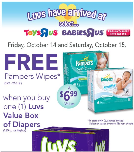 Free Box Of Pampers Wipes With Purchase Of Luvs Value Box
