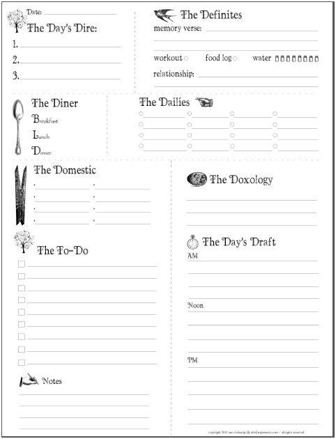 Free Daily Planner Printable  Kids Activities  Saving Money  Home