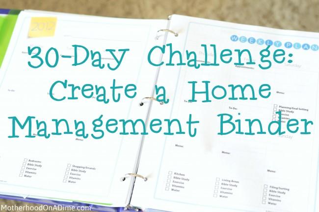 30 Day Challenge Home Management Binder