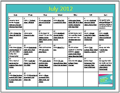 Free Download July 2012 Summer Fun Activity Calendars For Kids 2 Variations on Spring Preschool Themes Lesson Plans