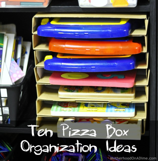 Ten ways to organize with pizza boxes kids activities