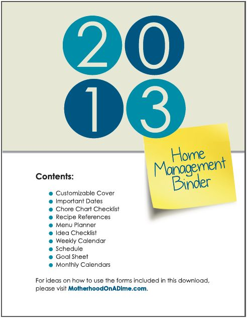 2013 home management binder