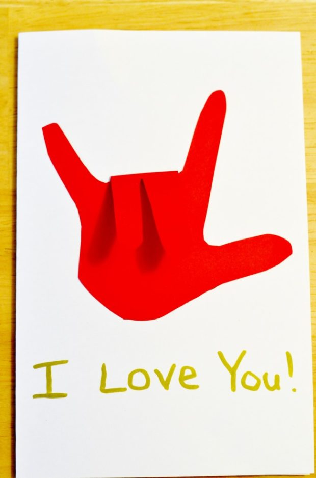 sign language heart valentine card