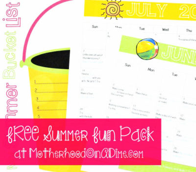 Free Summer Fun Pack:  Summer Bucket List Printable + 2 FREE Summer Activity Calendars