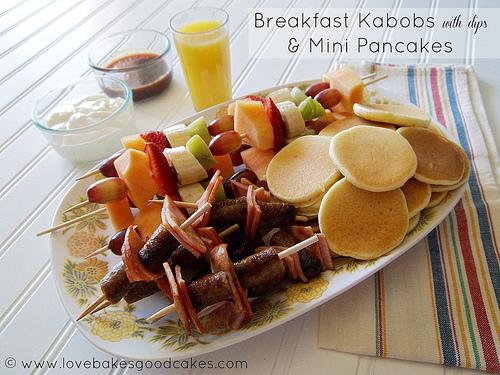 Breakfast Kabobs with dips & Mini Pancakes
