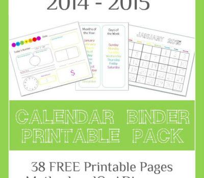 FREE 2014 – 2015 Calendar Binder Printables