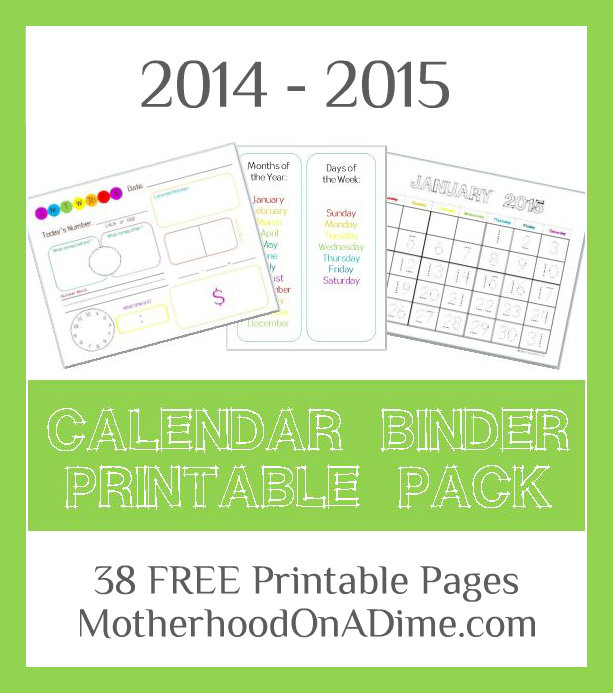 Free Calendar Binder Printables for 2015