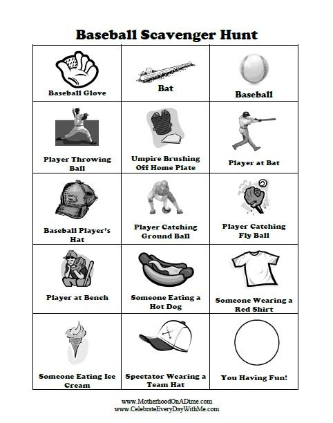 Baseball Scavenger Hunt Free Printable