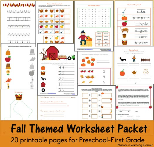 Fall Themed Worksheets