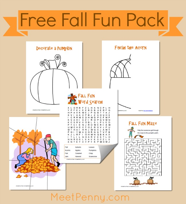 10 Fall Theme Printable Activity Packs