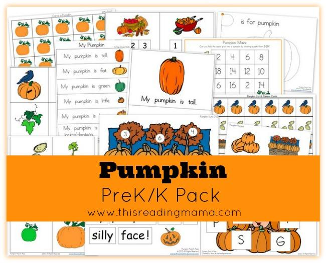 pumpkin reading pack pre-k