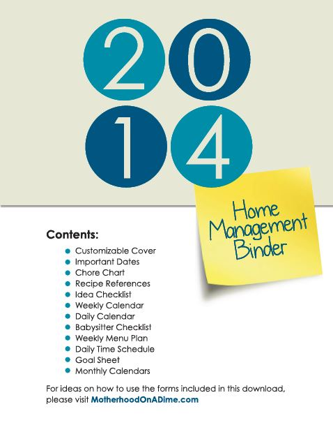 2014 Free Home Management Binder Printables