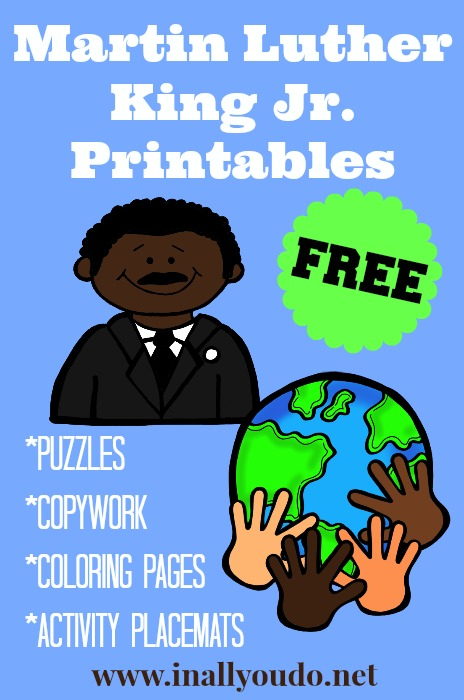 Free Martin Luther King Jr Printables And Activity Ideas Kids