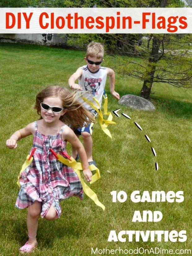 diy clothespin flags - 10 games & activities