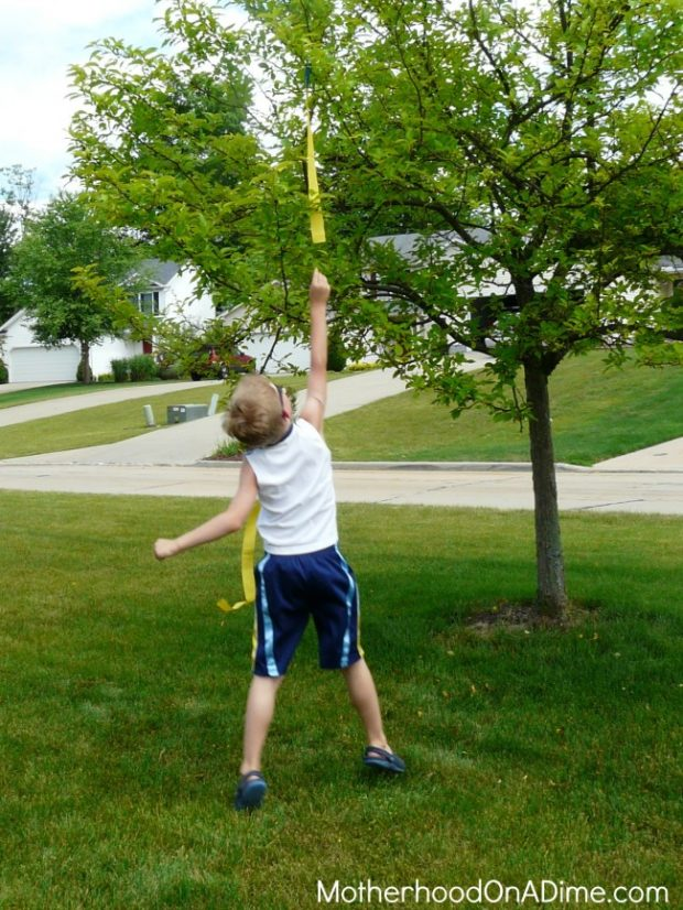 obstacle course with DIY clothespin flags