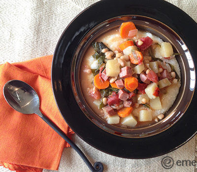 Ham, Kale, & Navy Bean Stew (Served Over Homey Cheese Grits)