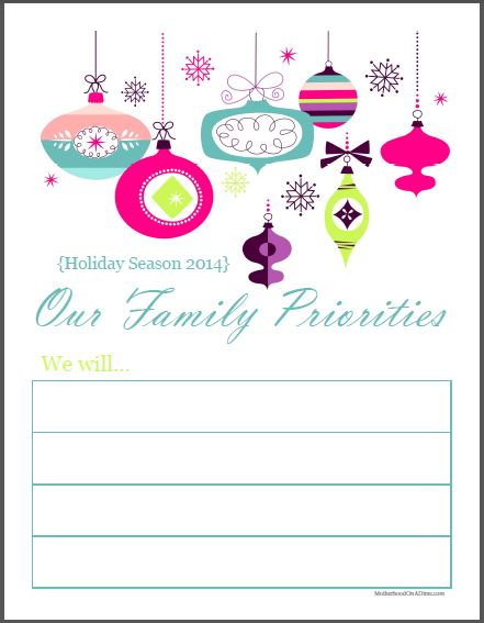 Holiday Priority sheet