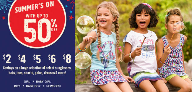 5515f1c744bc6 Summer s On at The Children s Place! Save Up to 50% off plus get  1  shipping. Find some great deals on kids clothes starting at just  2.