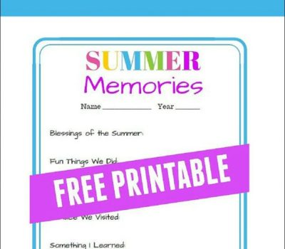 Save Summer Memories with this FREE Printable