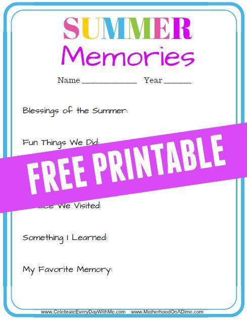 Summer Memories - Free Printable