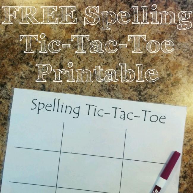Free Spelling Printable Practice - Tic Tac Toe Game