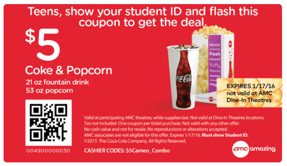 graphic regarding Amc Printable Coupons named Teenagers Attain Popcorn and Coke for Simply just $5 at AMC Theaters