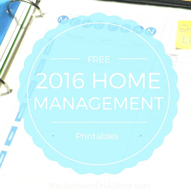 Get these free home management printables for 2016!  Includes free printable menu planner, babysitting sheet, weekly calendar, checklists, goal planner, and more!