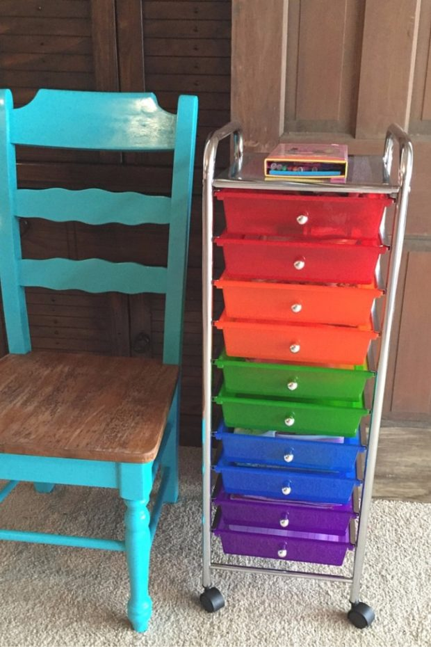 colorful rolling cart for little artists