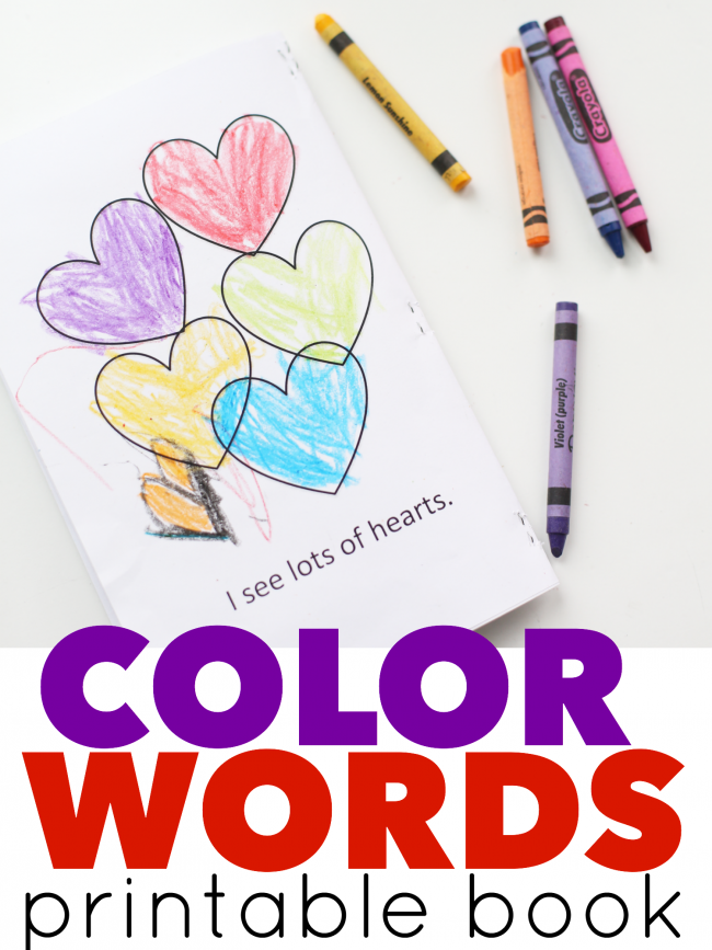 Color Words Valentine Printable