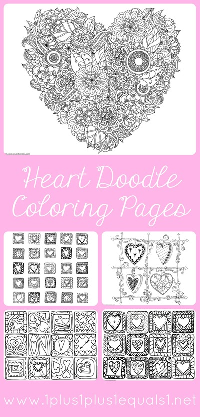 Heart Doodle Valentine's Day Coloring Pages