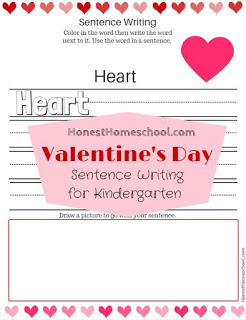 Valentine Sentence Writing Prompts for Kindergarten free printable